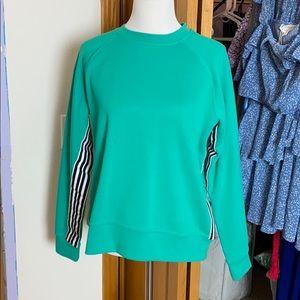 Tops - Teal Stripe Sleeve Crewneck Sweatshirt
